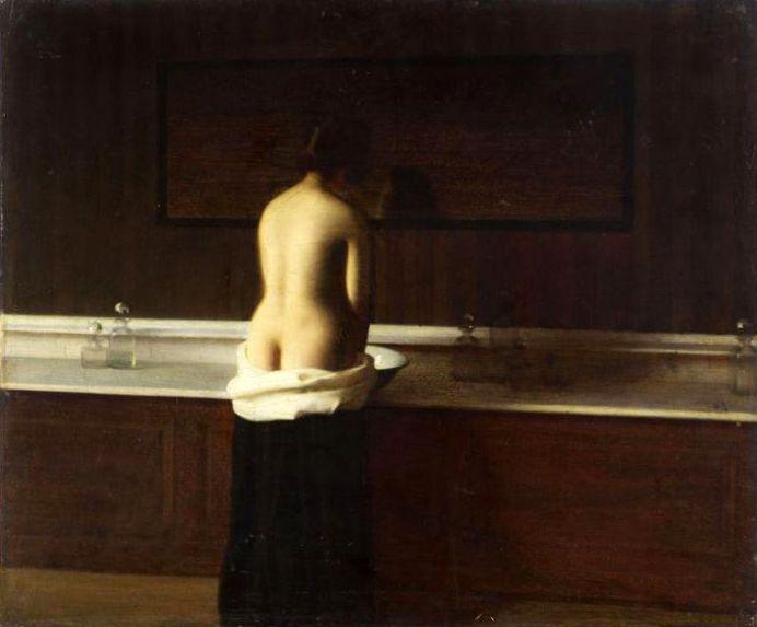 Eugène Lomont - Jeune femme à sa toilette - 1898 - huile sur toile - 54x65cm - Beauvais -musée de l'Oise
