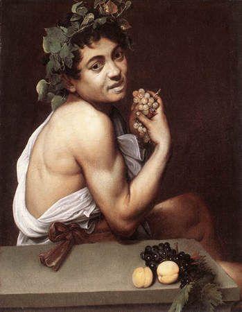 Caravage - Petit Bacchus malade - vers 1593-1594 - huile sur toile 67x53cm - Rome Galerie Borghèse. Caravage a réalisé trois autoportraits, celui-ci étant le premier.