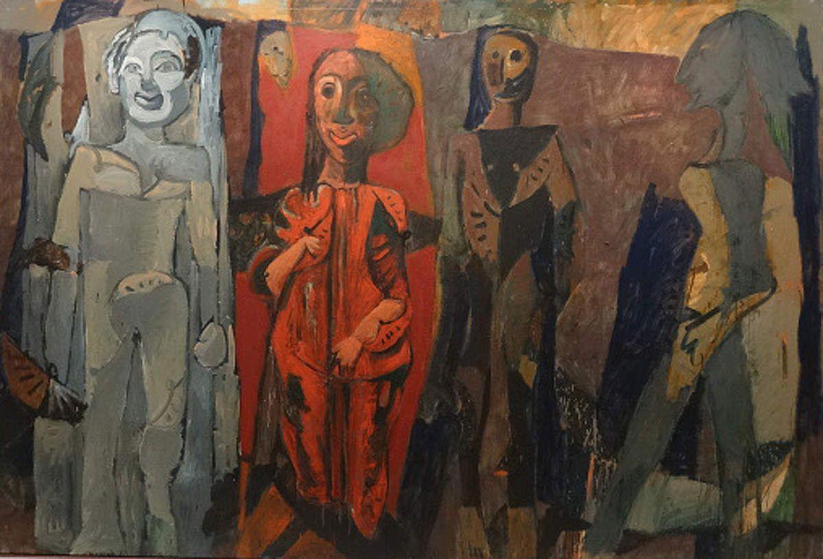 """""""Le sourire Mycénien"""" - 1985 - Peintures monumentales renvoyant à l'Antiquité grecque."""