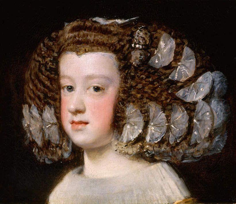 Marie Thérèse infante d'Espagne - 1651-1654 - huile sur toile 34,3X40cm - Metropolitan New York - Remarquez les merveilleux papillons de soie dans les cheveux !