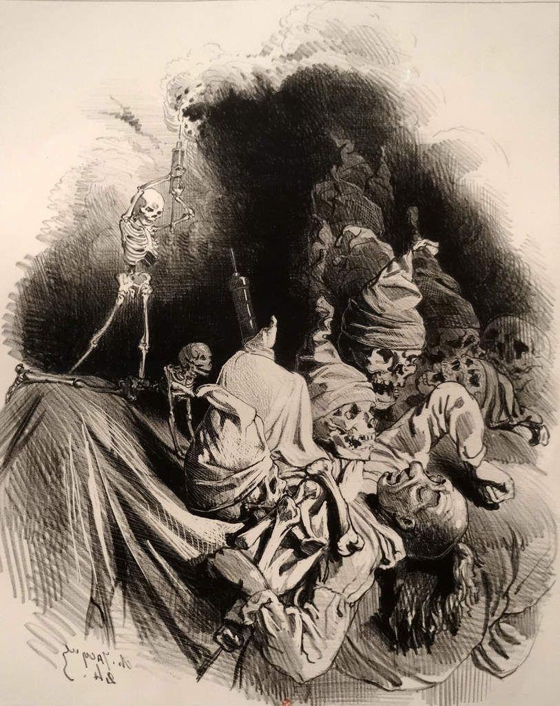 Gustave Doré - (1836-1883) - Alors ma terreur redouble à l'aspect de l'abîme - Planche de l'enfer de Dante - 1851 - Gravure sur bois de Dupeyron