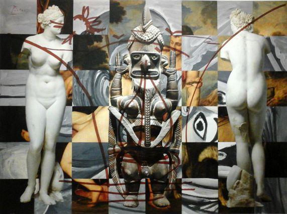 """Jeff Koons - ANtiquité 2011 - collage - aphrodite romaine, sculpture Papouasie, version d'Adonis et Venus de Titien, le tout recouvrant un """"Baiser"""" 1969 de Picasso"""