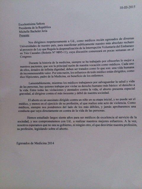 Carta entregada y leída por Carolina Aguilera a Bachelet.