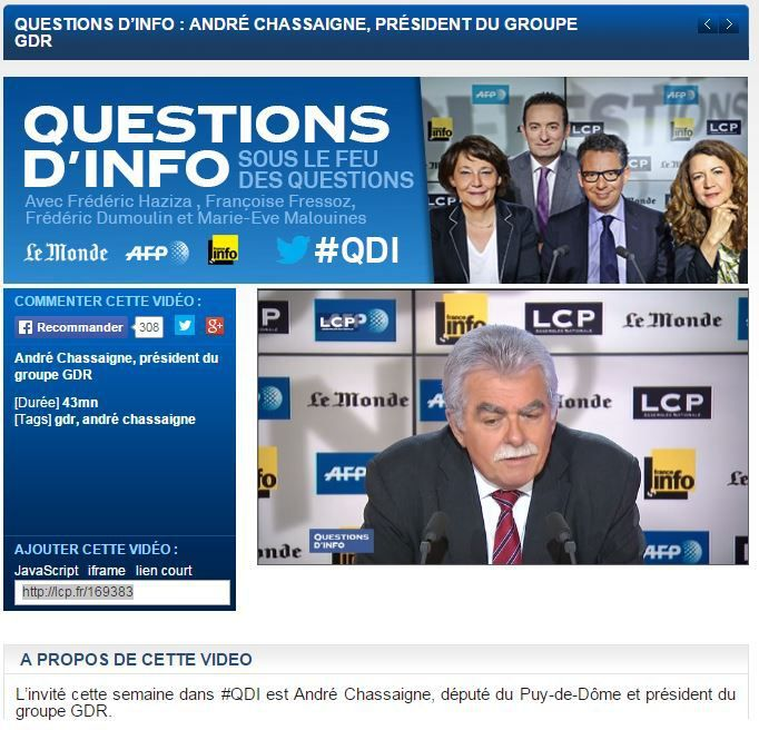 Invité de Questions d'Info le 8 avril 2015