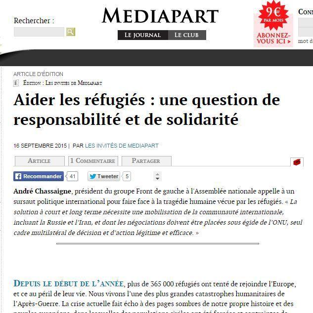 Aider les réfugiés : une question de responsabilité et de solidarité - Tribune publiée sur Mediapart