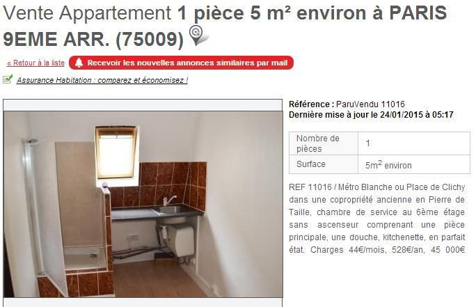 a vendre paris un appartement de 6 2 m tres carr On chambre 9 metre carre