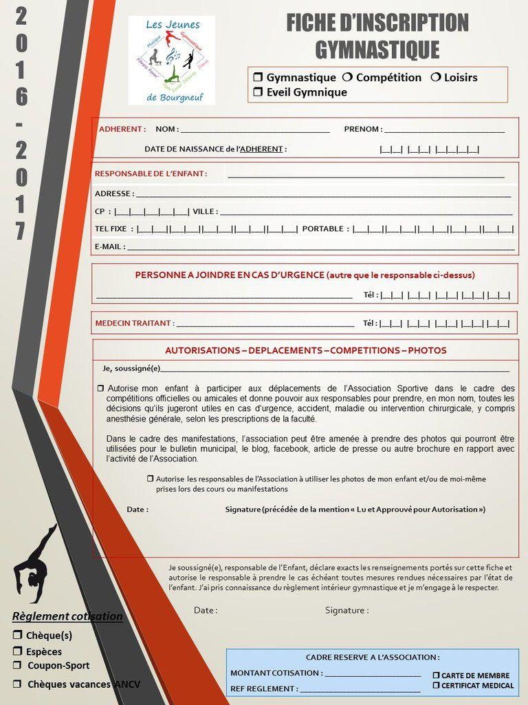 règlement-tarifs et fiche d'inscription