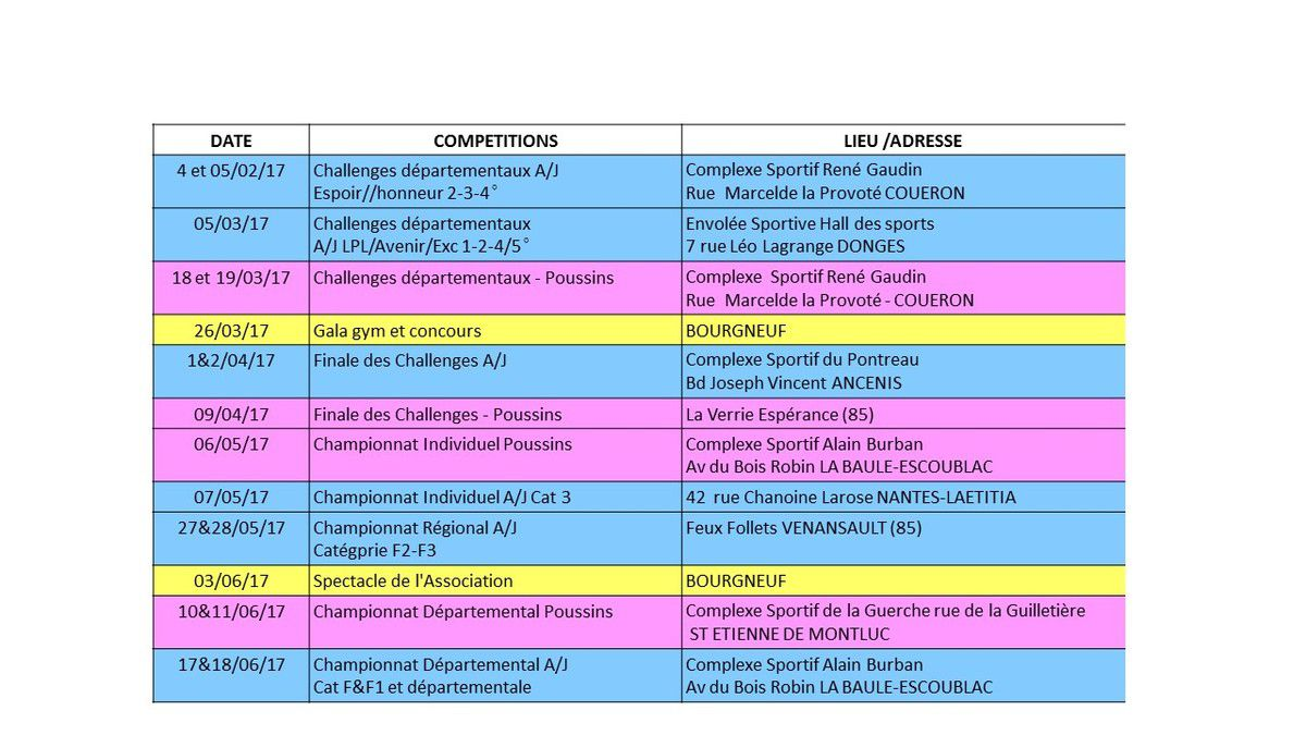 CALENDRIER COMPETITIONS &amp&#x3B; MANIFESTATIONS - 2016-2017