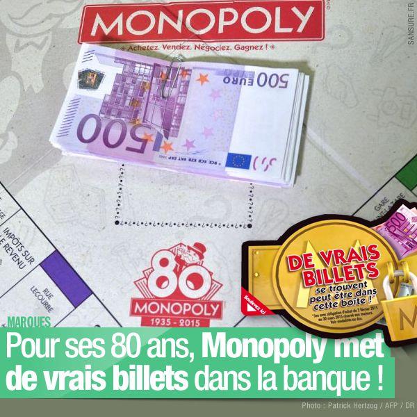 Pour ses 80 ans, Monopoly met de vrais billets dans la banque ! (mis à jour) #Monopoly