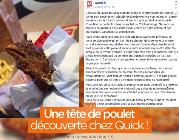 Une tête de poulet découverte chez Quick ! #BadBuzz