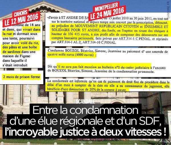 Entre la condamnation d'une élue régionale et d'un SDF, l'incroyable justice à deux vitesses ! #Justice