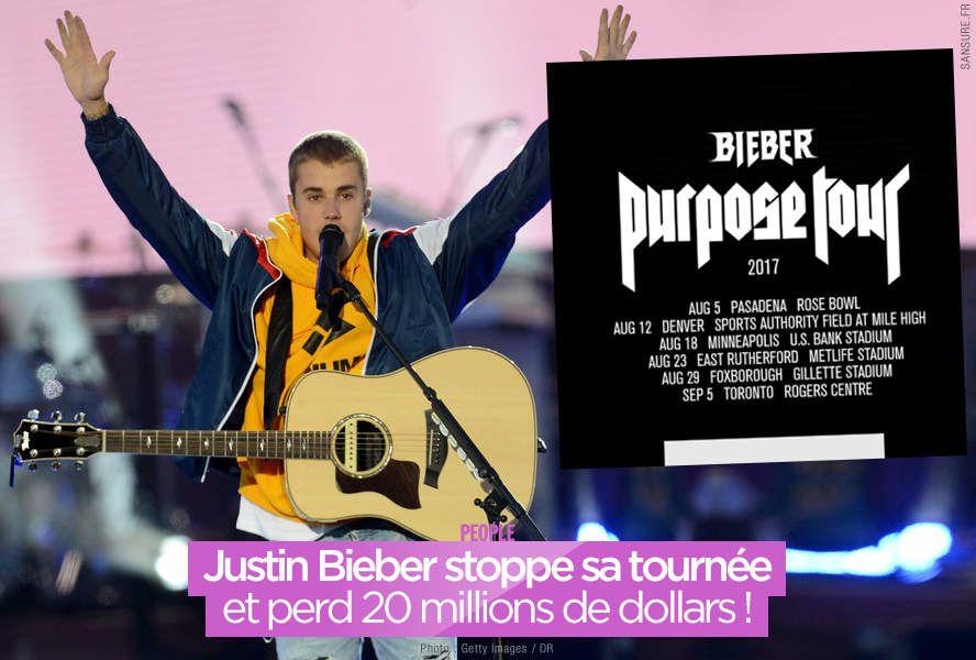 Justin Bieber stoppe sa tournée et perd 20 millions de dollars ! #PurposeTourStadiums