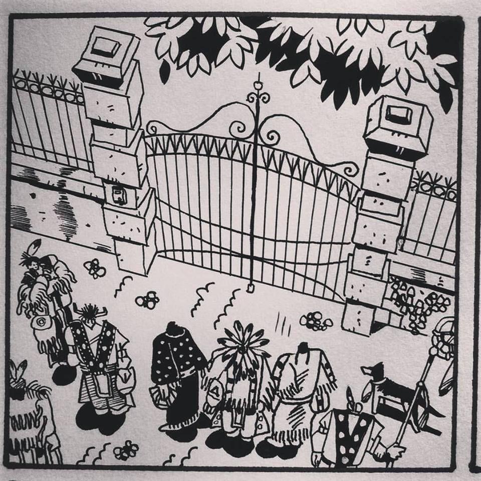 Au portail.