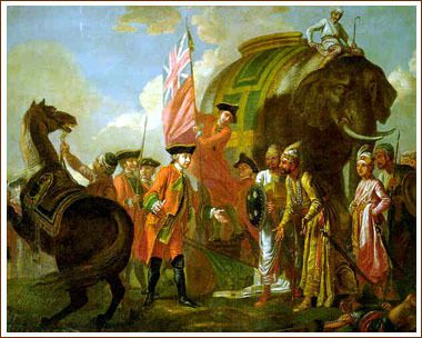 Lord Clive meeting with Mir Jafar after the Battle of Plassey