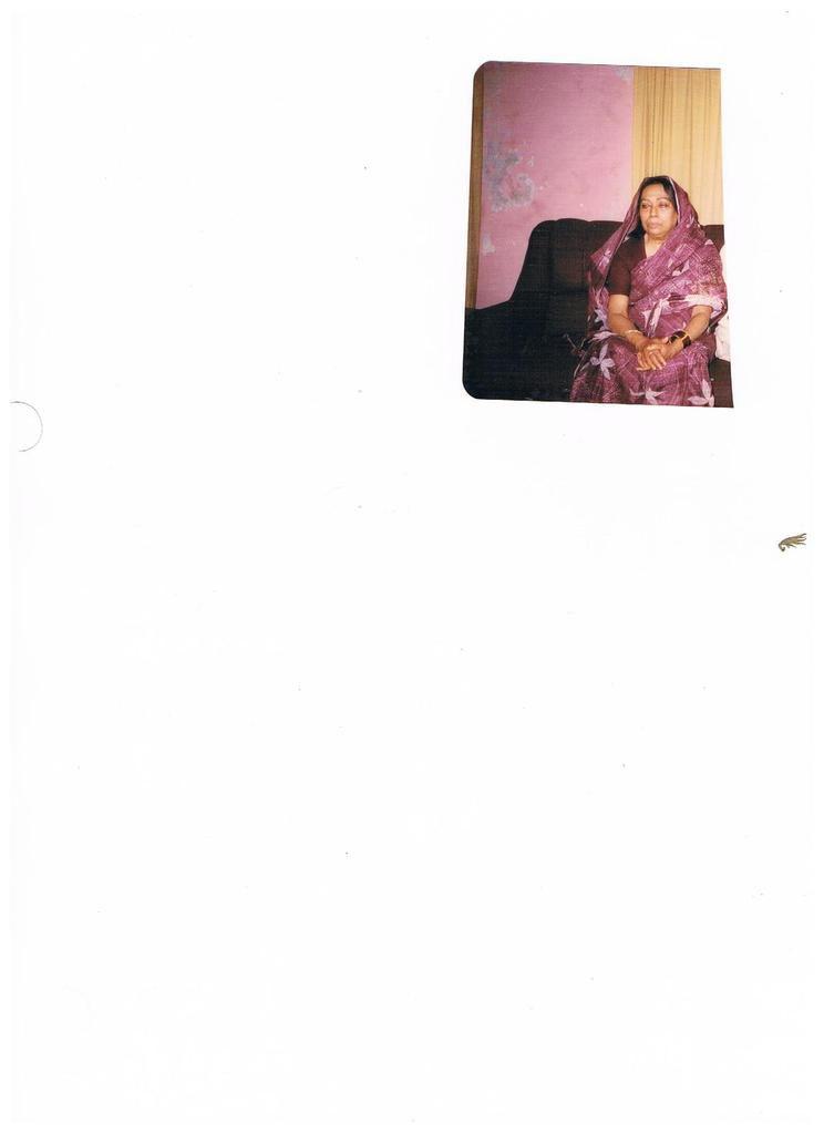 Late Tante im Alter von 75 (Schwester von Chowdhury Muhammad Ali Bogra (Prime Minster of Pakistan 17 April 1953 – 12 August 1955)