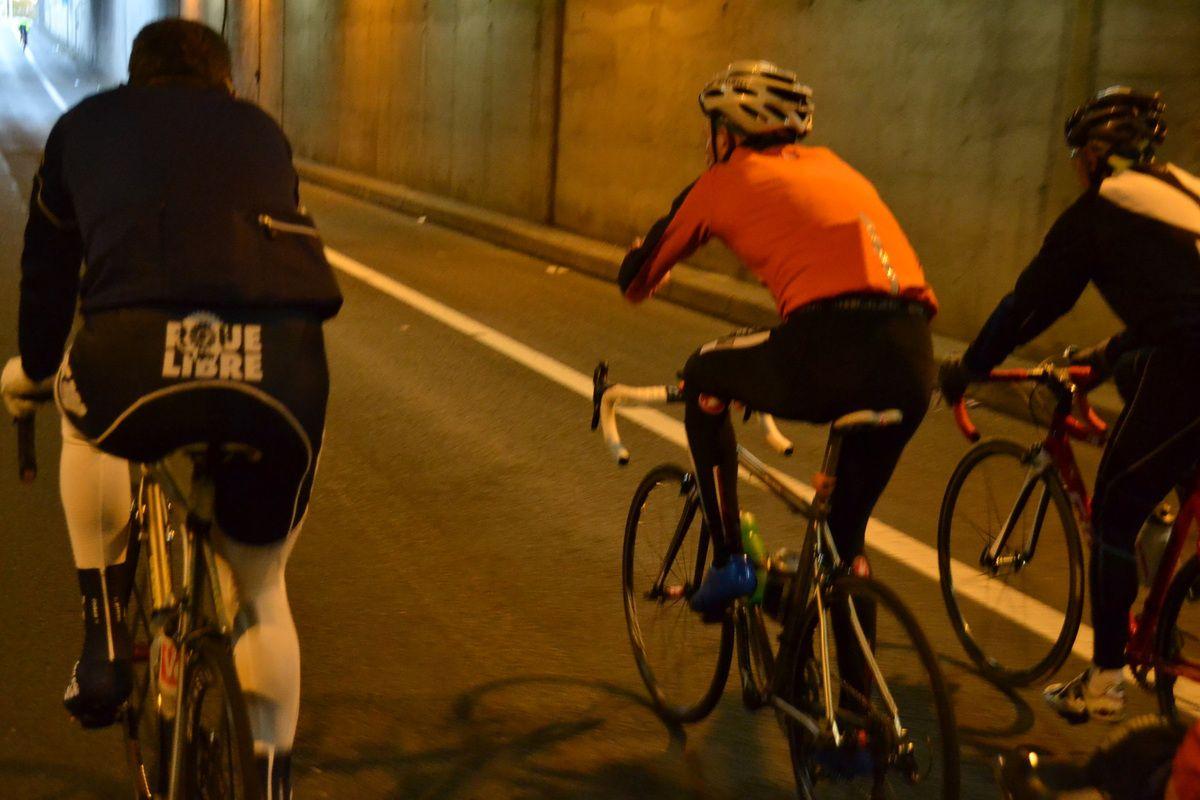 Didier LASISTE et Jean-Claude DRUAIS lors du passage sous le tunnel.