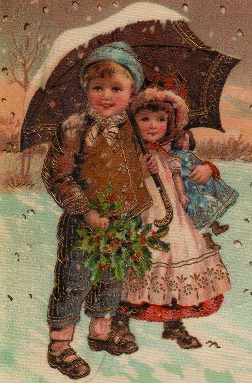 les enfants à noël - cartes anciennes et dessins animés