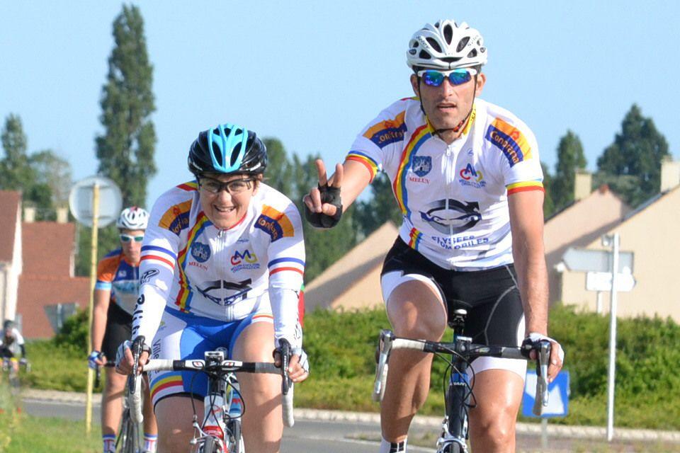 Karine MARTINO (Melun Cyclisme Organisation), 2è femme et18è, avec Pascal AMORINI.