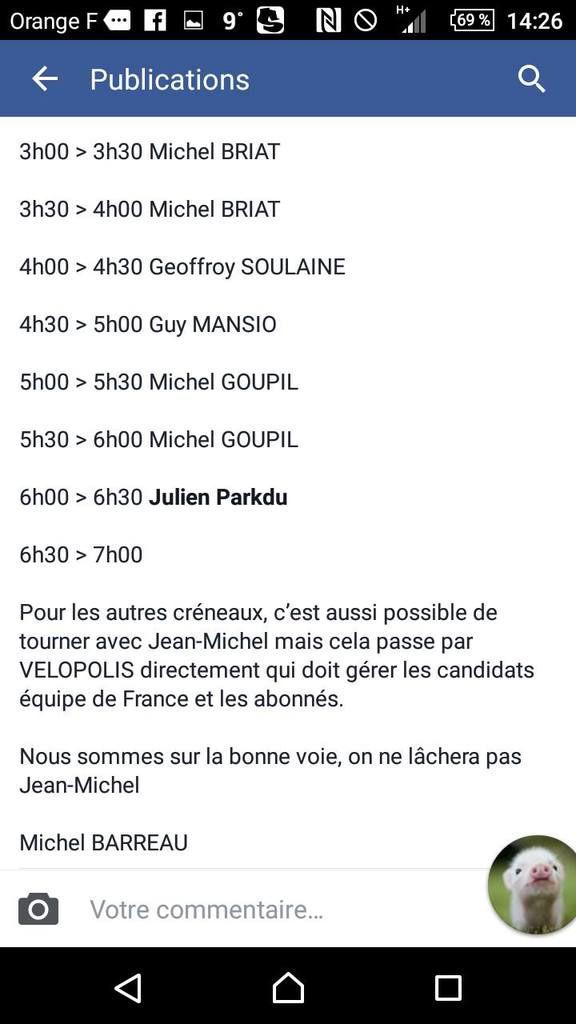 Les entraineurs de la nuit pour Jean-Mi : Michels GOUPIL et BRIAT .