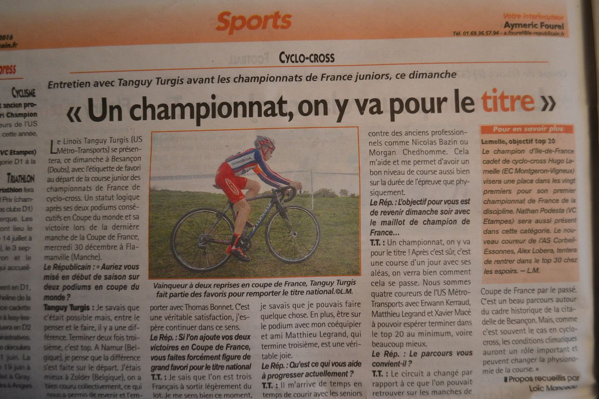 Tanguy TURGIS (USMT) , favori du Chpt de France de Cyclo-Cross Juniors 2016.