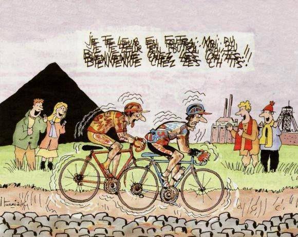 Humour et vélo dans les journaux.