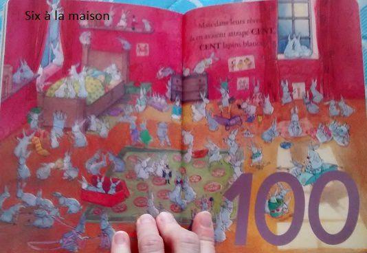 Le livre à compter de Balthazar à la poursuite du Lapin brun , nombre 100 pédagogie Montéssori