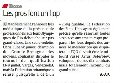 L'ARTICLE BOXE DU JOURNAL L'EQUIPE DU 15/06/2016