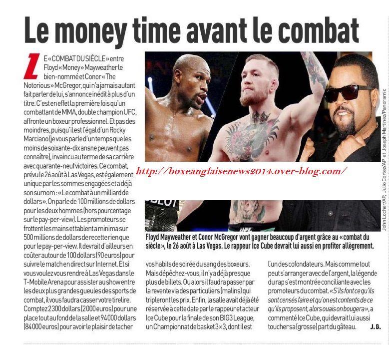 L'article Boxe du journal L'équipe du 21 juin :   La money time avant le combat