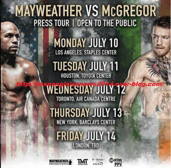 La tournée média mondiale 'Mayweather vs. McGregor' débutera à Wembley!