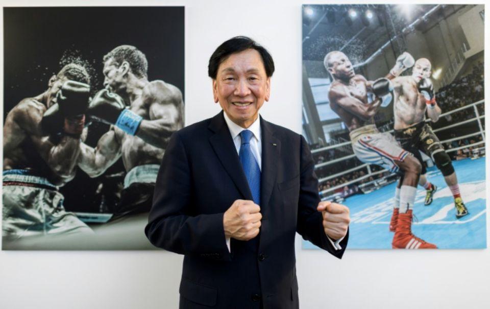 Le Taïwanais Ching-Kuo Wu, président de l'AIBA, à Lausanne, le 2 août 2017 Photo Fabrice COFFRINI. AFP