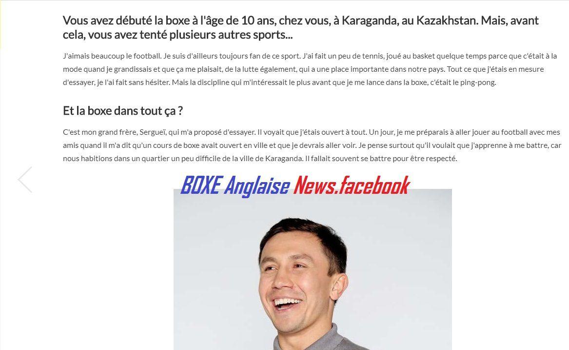 L'interview de Gennady Golovkin dans L'équipe Magazine du 1 septembre :