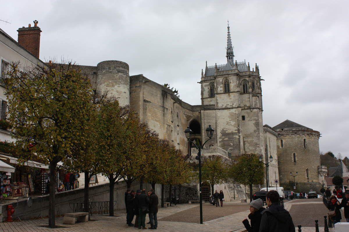 côté ville, puis côté jardin,  la chapelle, et des détails de sculptures dans la pierre, et une gargouille