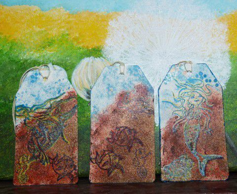 étiquettes encre et peinture a tampons 3D Stempel-Farbe de Viva turquoise ,tampons Marianne Design repassé à l'encre noire versafine