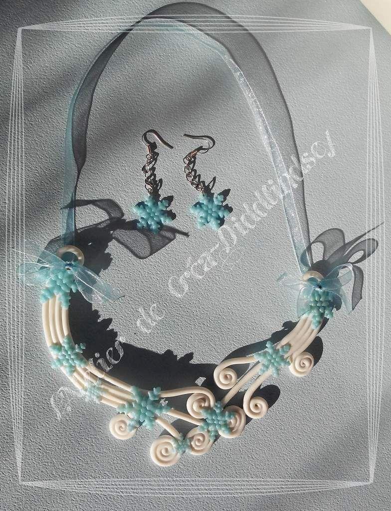et voici une nouvelle parure tout en porcelaine froide Fox de ma création dans les tons bleu irisé et blanc nacré pailleté