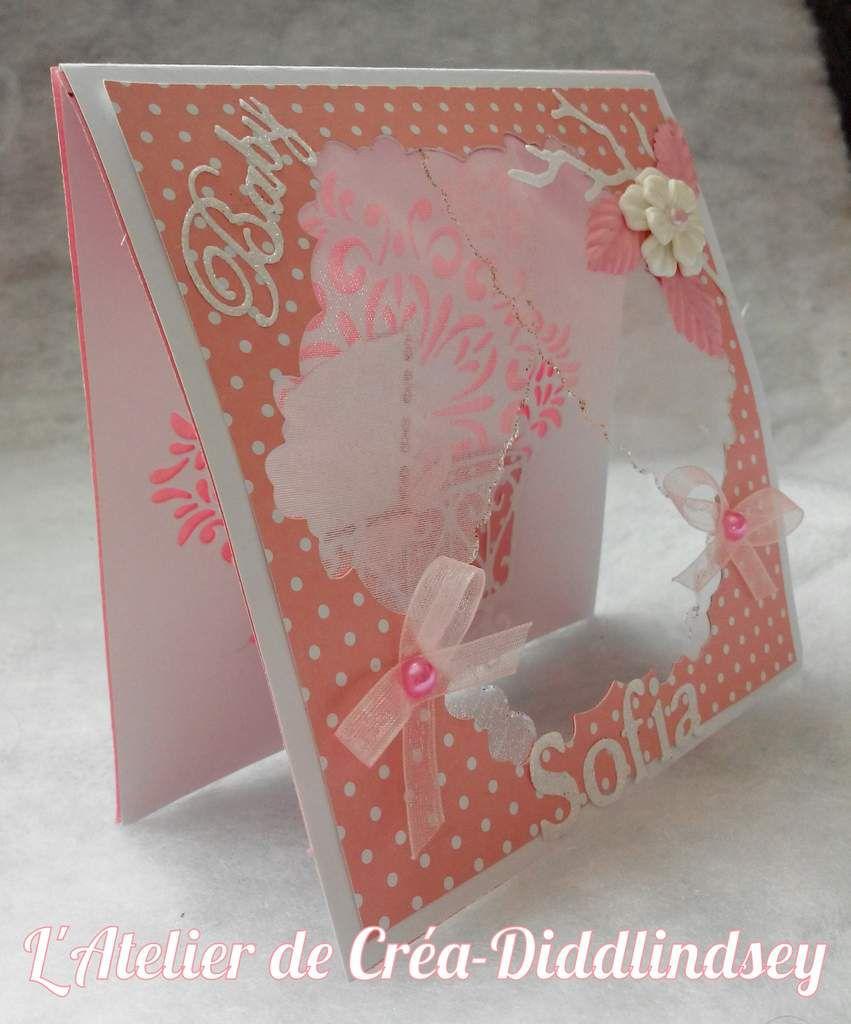 Carte de naissance rose pour une petite Sofia