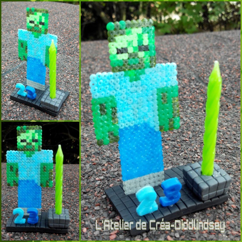 bougie zombie minecraft en porcelaine froide fox et perles hama mini le blog de diddlindsey. Black Bedroom Furniture Sets. Home Design Ideas
