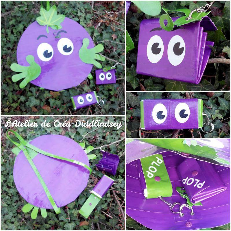 Voici ma dernière Plop création j'ai réalisé ce sac à dos et ses accessoires entièrement en it'z duct tape, il m'a fallu trois rouleaux de violet complet, un rouleaux de vert, un rouleau de noir et un rouleau de blanc