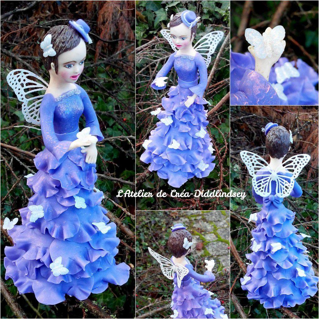 J'ai réalisé cette nouvelle petite poupée en porcelaine froide pour l'anniversaire de ma tata, qui adore les papillons et les poupées :)