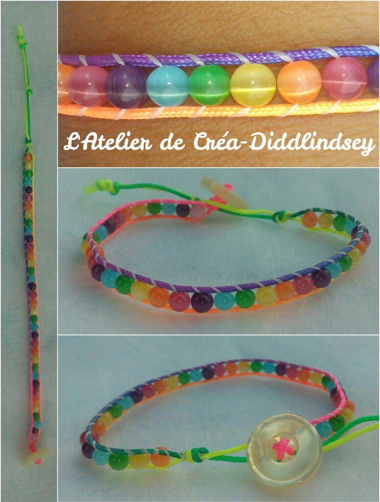 Voici un petit bracelet tout simple un tour au couleur de l'arc-en-ciel avec des perles œil de chat 4 mm et un cordon en nylon tressé arc-en-ciel. En guise de fermoir j'ai utilisé un joli bouton au couleur nacrée blanc.