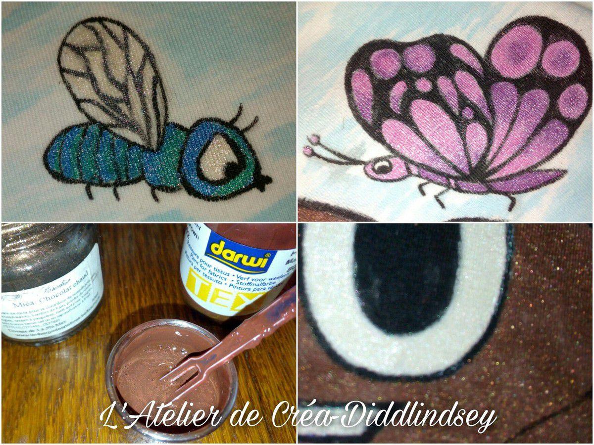 Pour le mouche bleue j'ai utilisé la peinture texte métallisé  et j'ai fait de même pour le papillon. Cours le caca poop j'ai utilisé un mélange de peinture darwi TEX et de mika chocolat chaud de chez la sphère Paradise pour avoir un effet brillant !