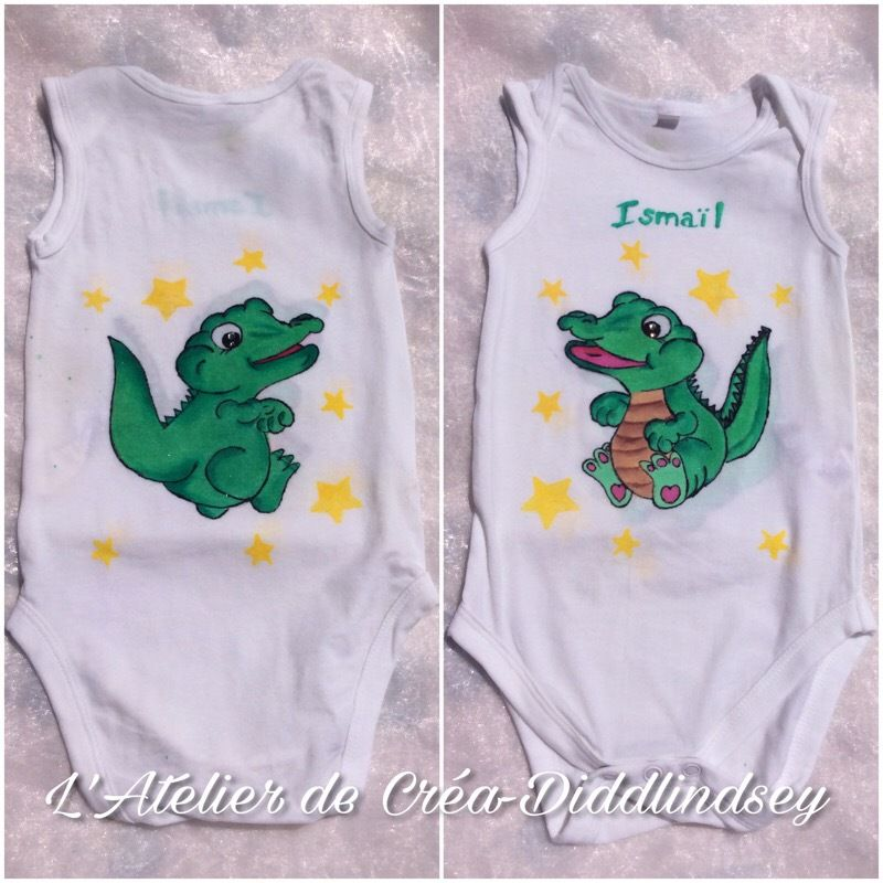 Peinture sur tissu body bébé je  thème bebe crocodile