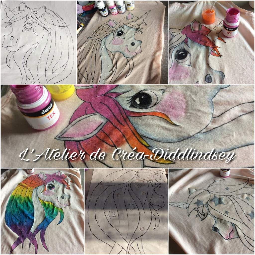 Après avoir réalisé le dessin de ma licorne est repassé d'encre transfert,  je l'ai transféré sur mon T-shirt et peint à l'aide de marqueurs et flacon de peinture Darwi tex