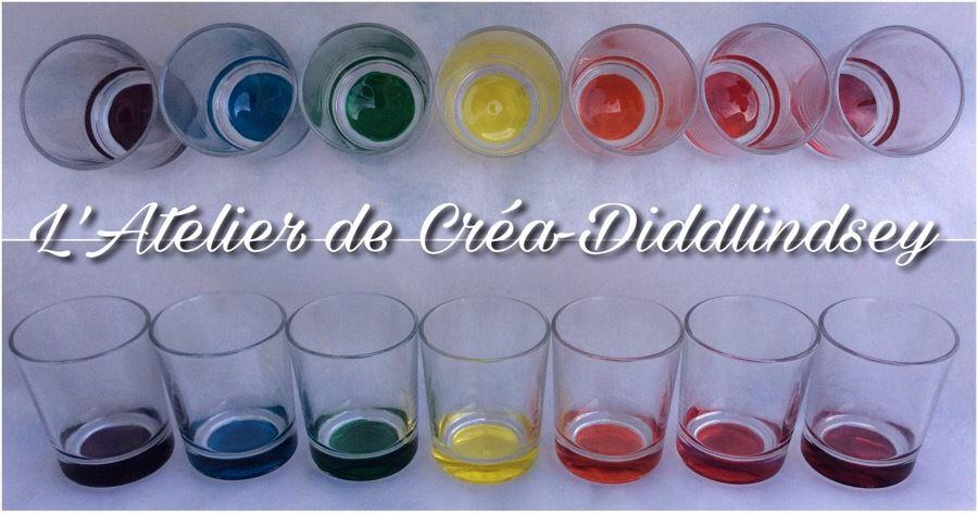Voici une série de 7 petits verres que j'ai personnalisé  aux couleurs de l'arc-en-ciel grâce à la peinture Darwi Glass