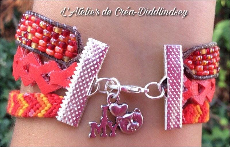 Bracelet type Hipanema pour mon amie Chantal dans les tons rouges oranger