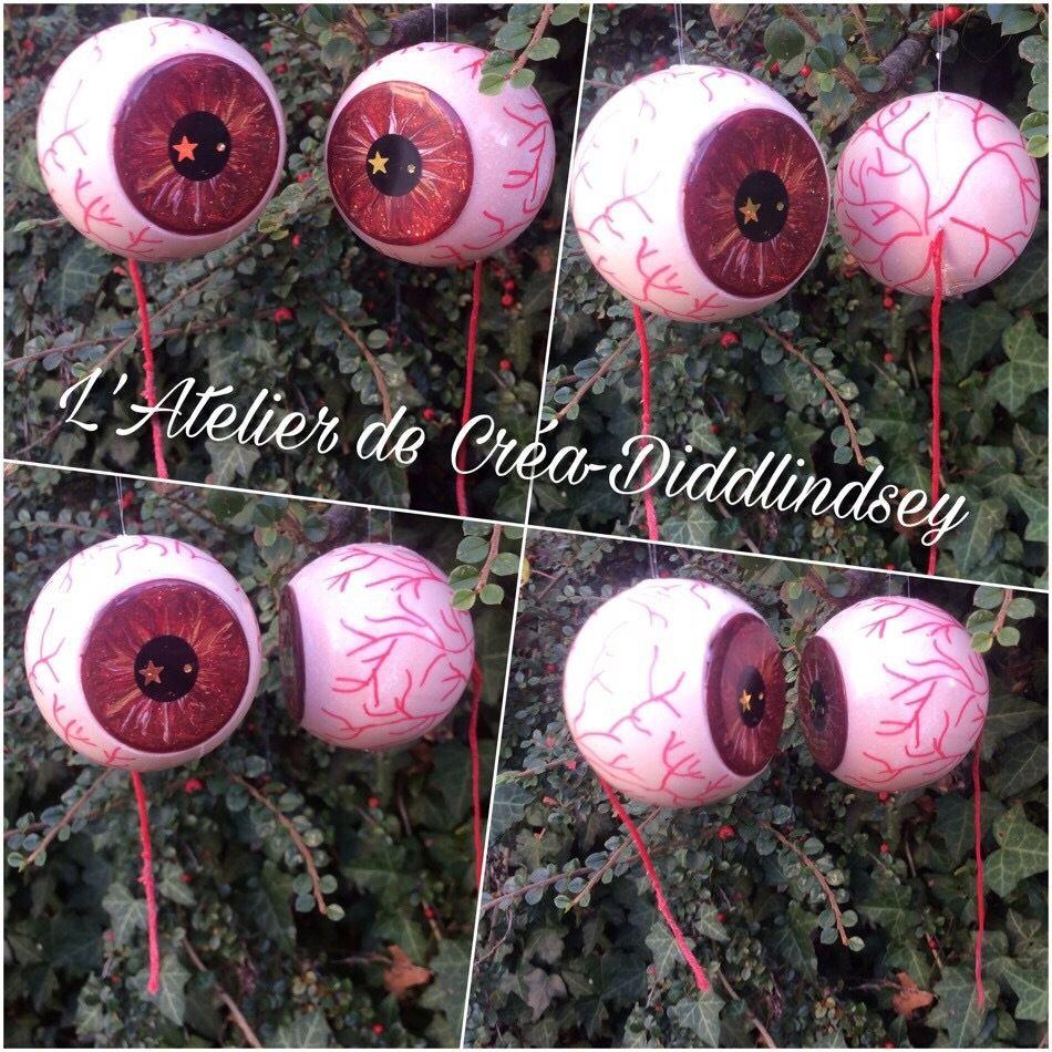 Des globes oculaires à suspendre en résine et Scultoline pour Halloween