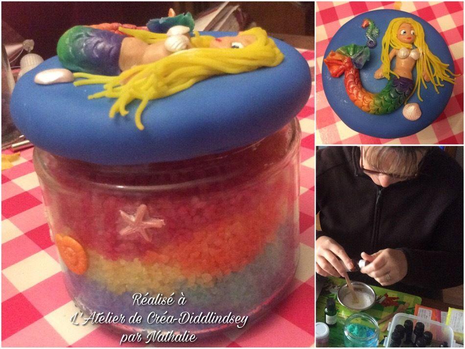 Atelier sel de bain  et son pot décoré de porcelaine froide avec Nathalie