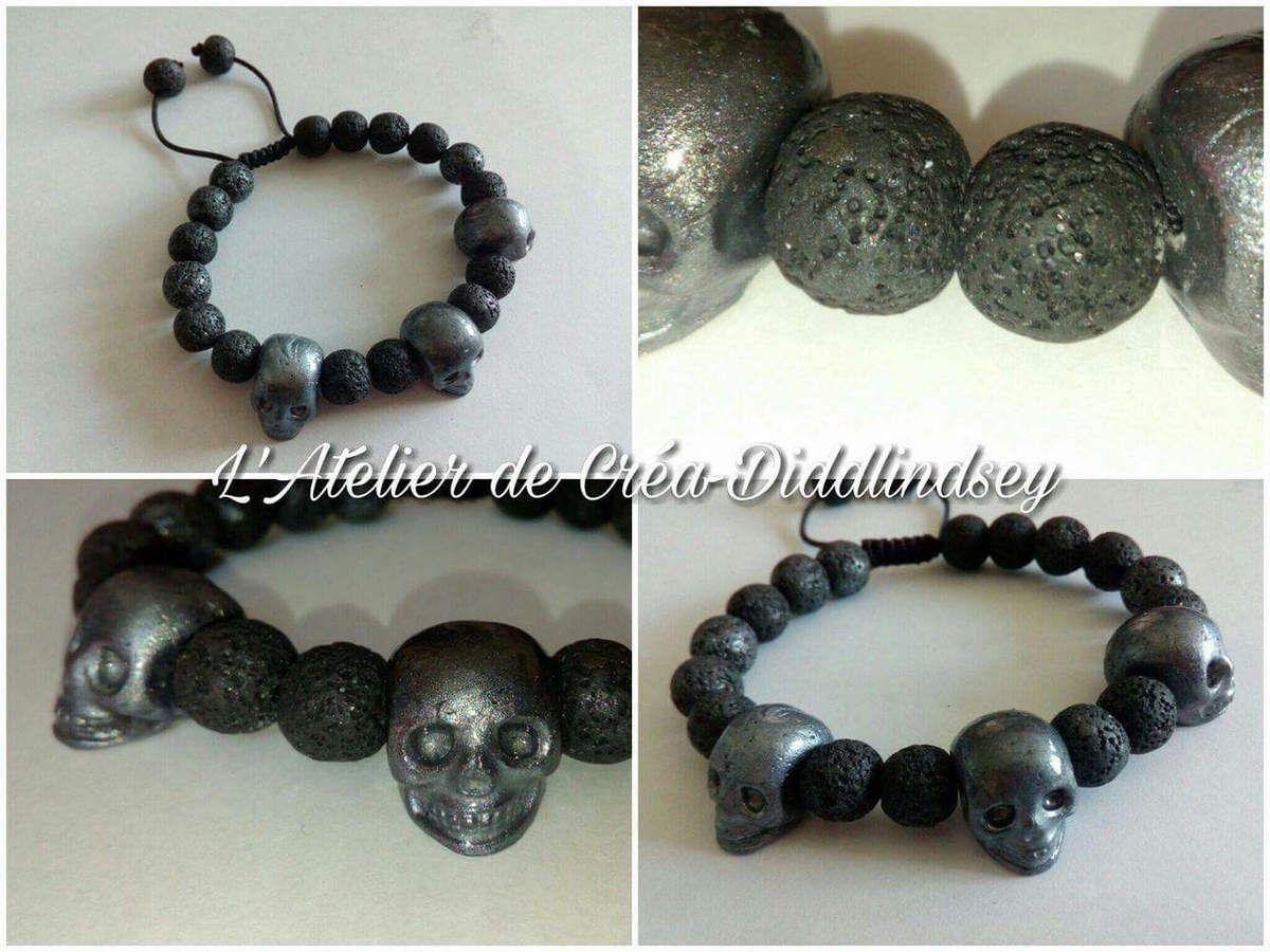 Nouveau bracelet avec imitation pierre de lave en cernit pour homme