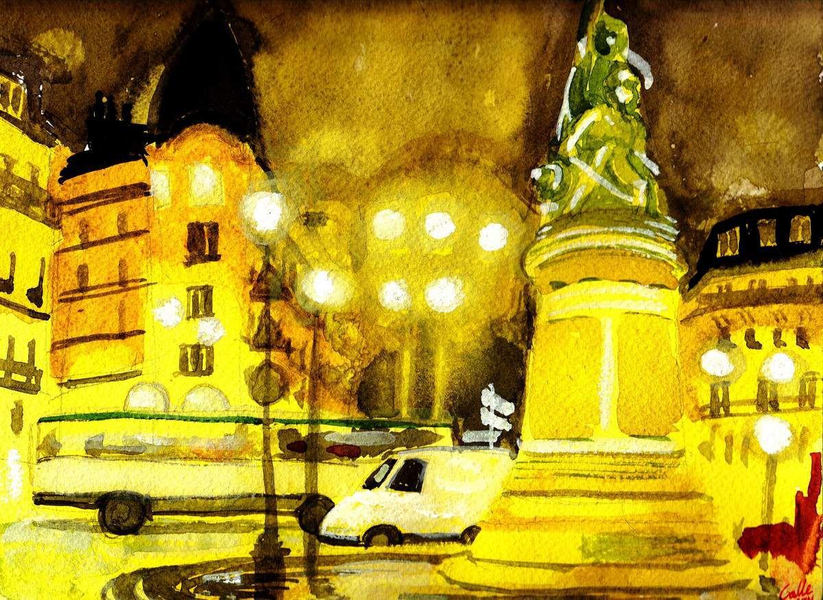 Place de Clichy, aquarelle faite par Kalle MERONO, 01.12.2014