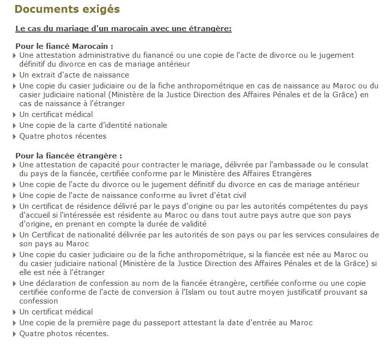 liste officielle en provenance du service public marocain pour le mariage adoulaire - Acte De Mariage Nante