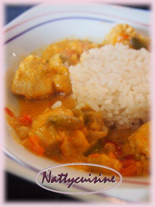 Curry de dinde, poivrons et  lait de coco   (Cookéo ou pas ..)